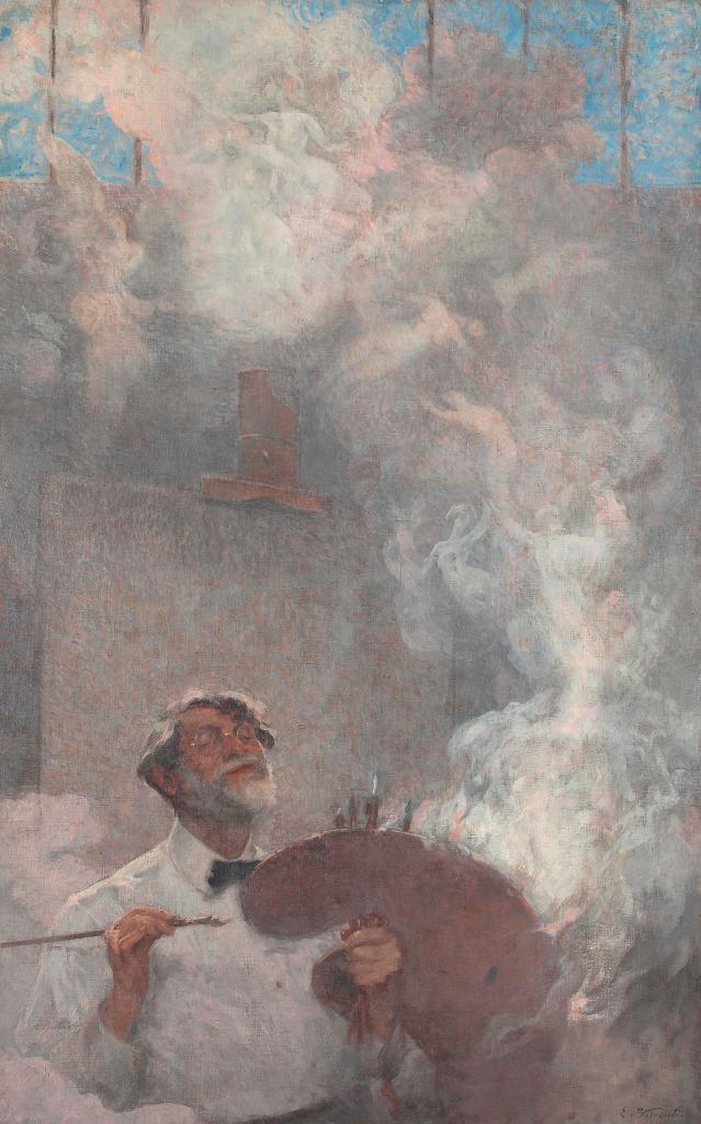 Eliseu Visconti, Ilusões Perdidas (Lost Illusions), self-portrait, c. 1933, oil on canvas, 160 x 100 cm. On show at Almeida e Dale