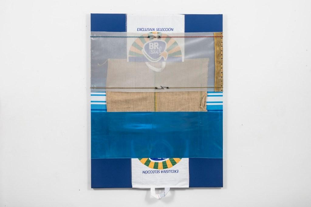 Untitled, 2016, Origem Series, canvas, raffia bags, nylon canvas, elastic and plastic