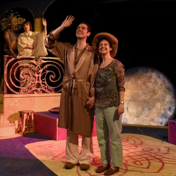 """Ganesha (Michael Harris) and Margaret (Elaine Carlson) watch Harry (Phil Higgins) and Katherine (Jeannie Affelder) walk through a square in India in Eclipse Theatre's production of""""A Perfect Ganesh"""" by Terrence McNally, directed by Steven Fedoruk. Running July 16-August 23, 2015, at the Athenaeum Theatre, 2936 N. Southport Ave., Chicago.  For tickets call the box office at 773-935-6875 or visit www.eclipsetheatre.com.  Photo by Scott Dray."""