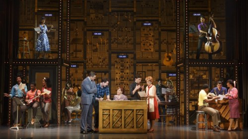 """(L to R) Curt Bouril, Liam Tobin, Abby Mueller, Ben Fankhauser, Becky Gulsvig and the Company of """"Beautiful: The Carole King Musical""""/Photo: Joan Marcus"""