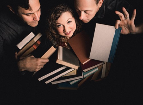 "Gary Alexander, Hannah Gomez and Brad Harbough in ""The Book Club Play"" at 16th Street Theater/Photo: Joe Mazza"