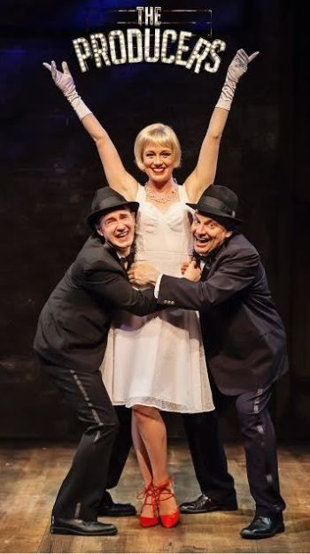 """Matt Crowle, Allison Sill and Bill Larkin in """"The Producers"""" at Mercury Theater Chicago/Photo: Time Stops Photography"""