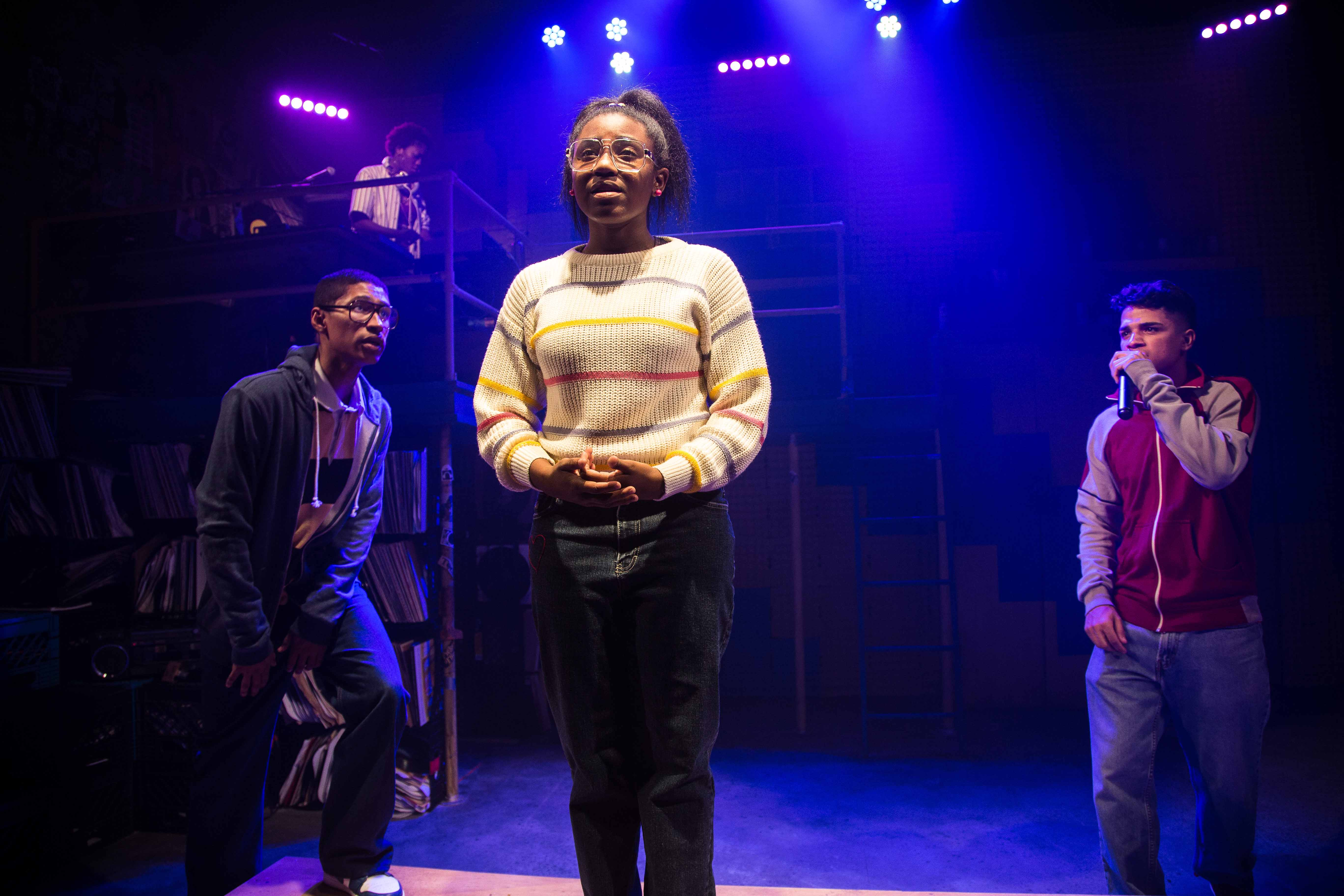 """Angela Alise (corner), Tevion Lanier, Ireon Roach and Johnathan Nieves in """"How We Got On"""" at Haven Theatre/Photo: Austin Oie"""