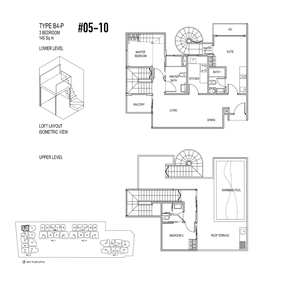 Condo Singapore - Jade Residences - Floor Plan Type B4-P Penthouse 3-Bedroom 05-10