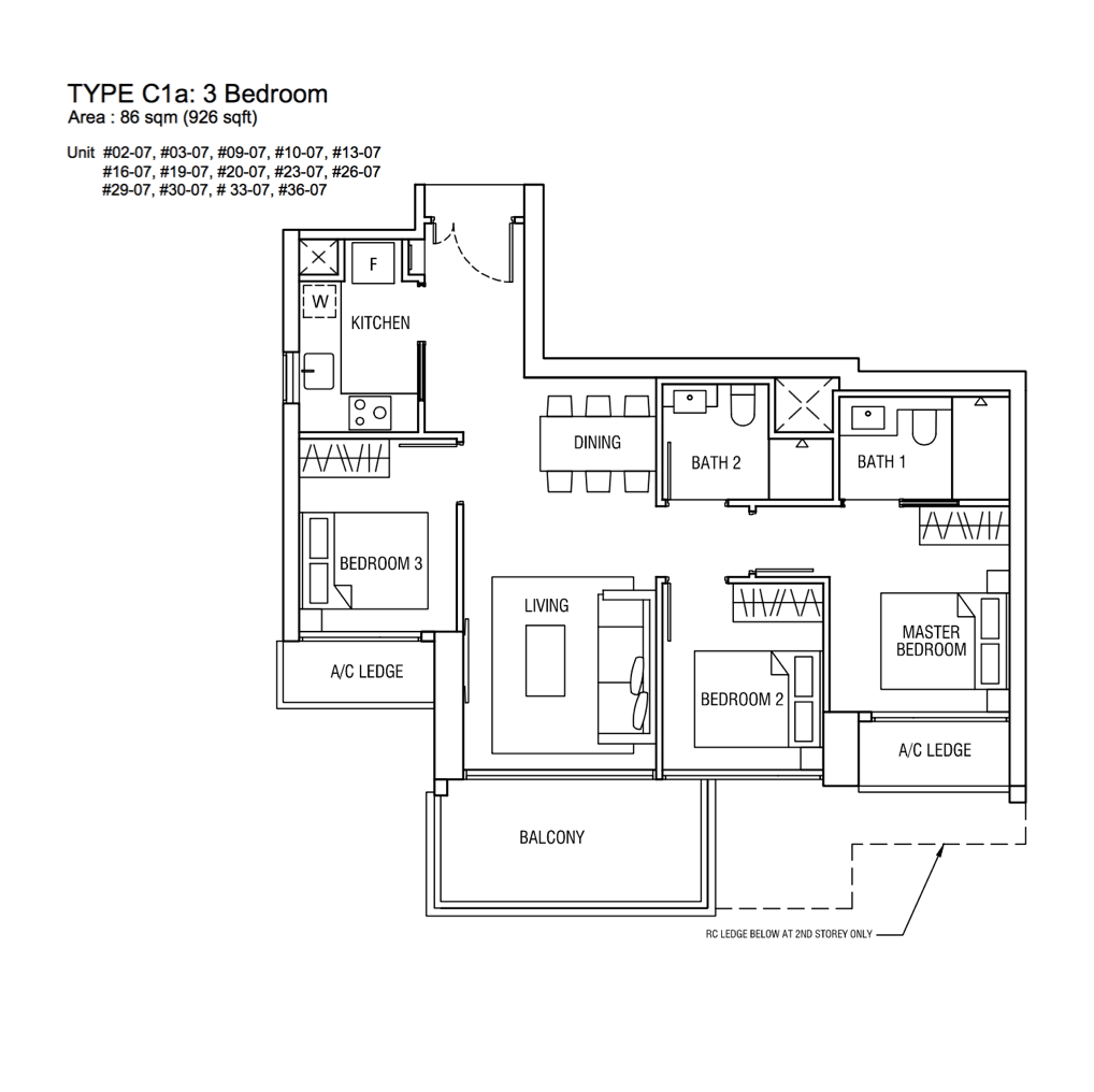 New Condo Launch - Alex Residences - Floor Plan Type C1a 3-Bedroom