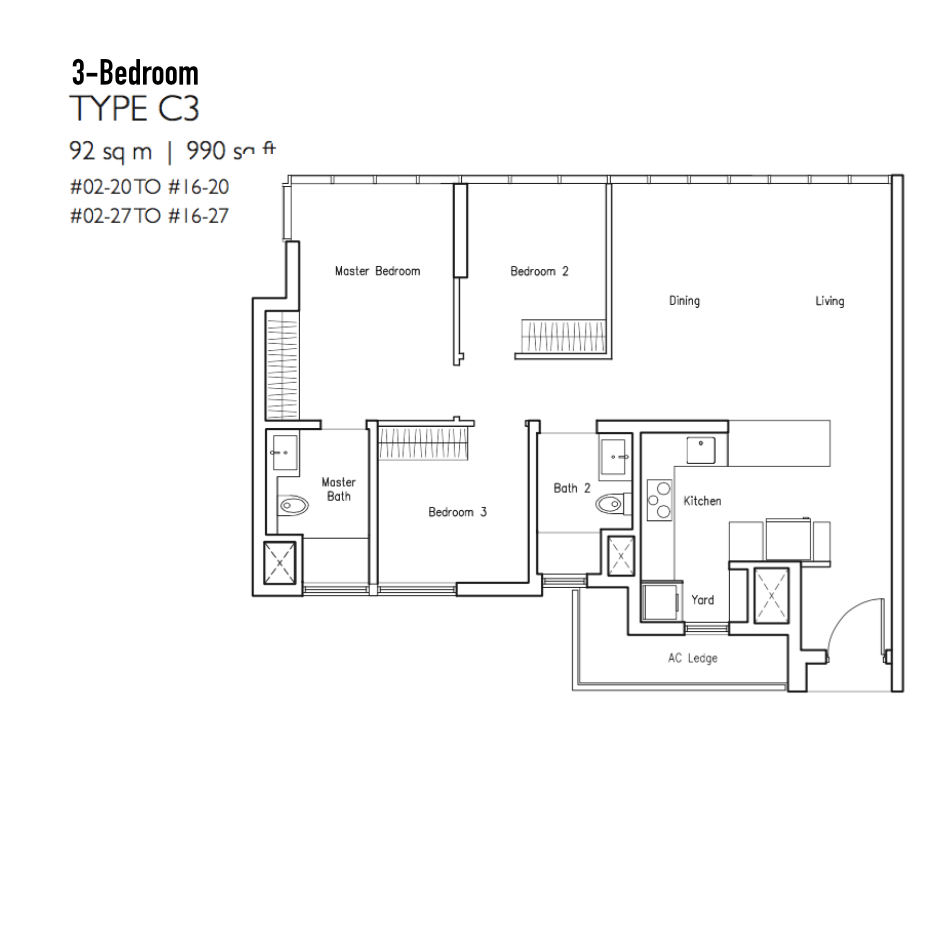 New Condo Launch - LakeVille - Floor Plan Type C3