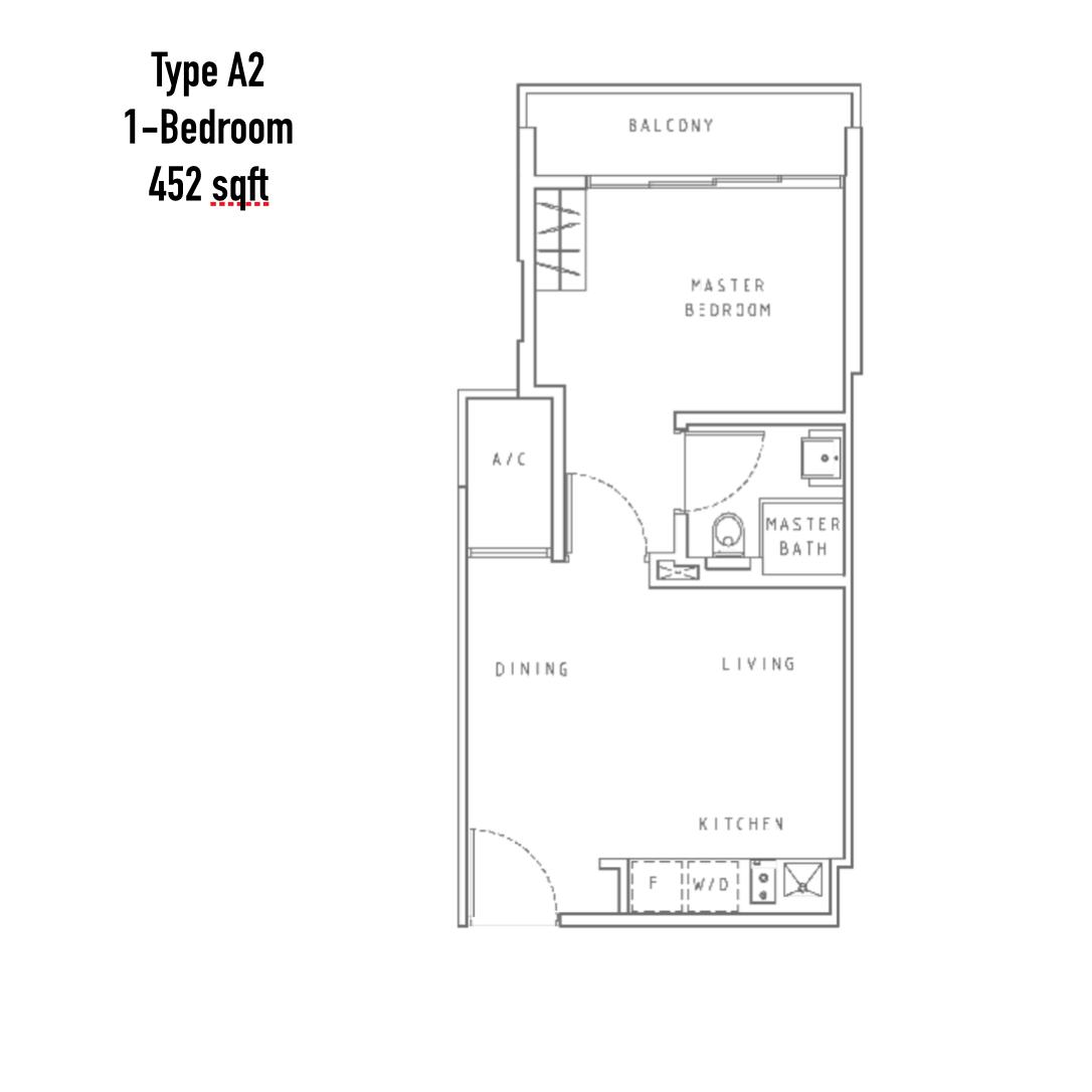 New Condo Launch - Liv On WIlkie - Floor Plan Type A2 1-Bedroom