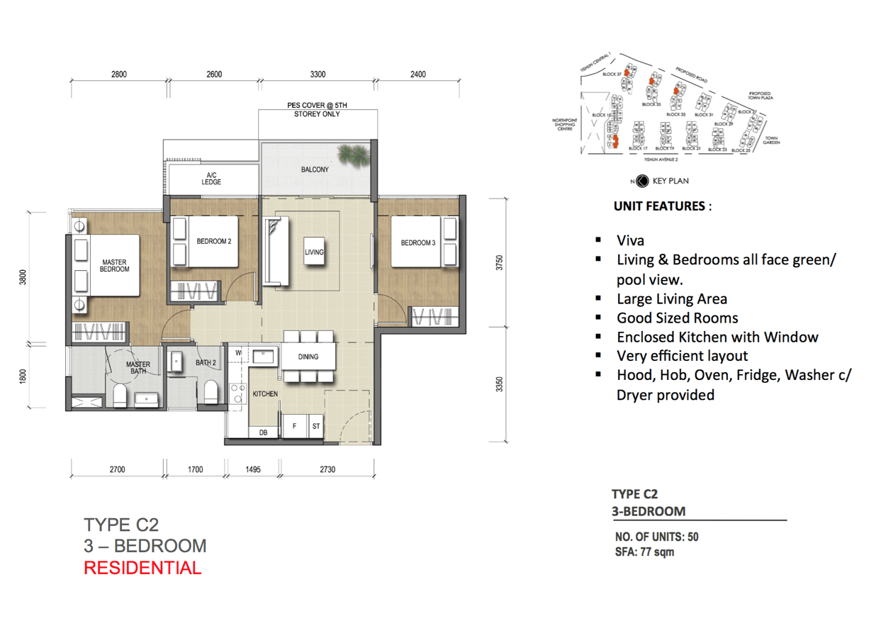 New Condo Launch - North Park Residences - Floor Plan Type CS2 3-Bedroom