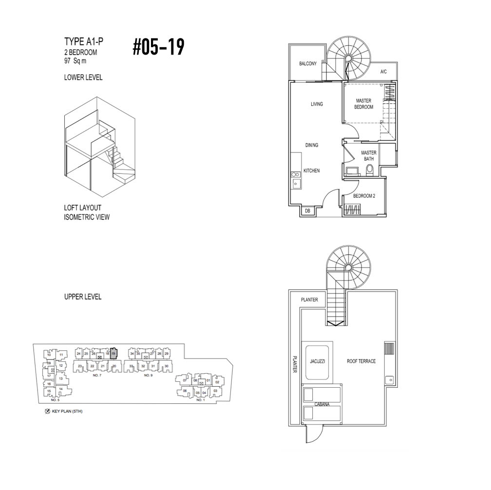 Singapore Condo - Jade Residences - Floor Plan Type A1-P Penthouse 2-Bedroom 05-19