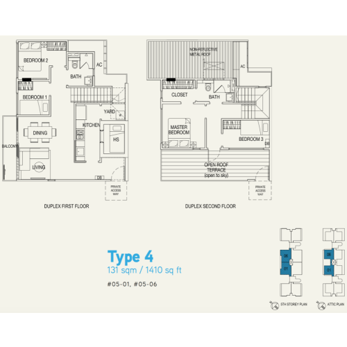 Singapore Property - Hilbre 28 - Floor Plan Type 4 1410sqft 4-Bedroom