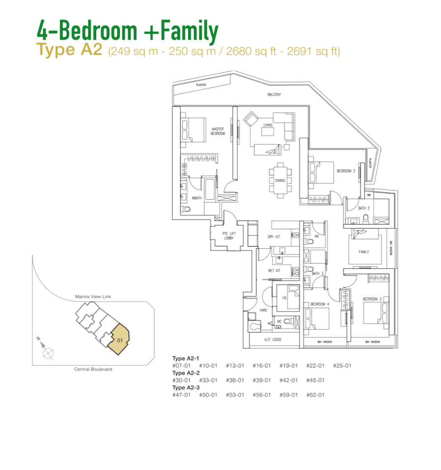 Marina Bay Suites - Floor Plan Type A2 2680sqft 4+Family