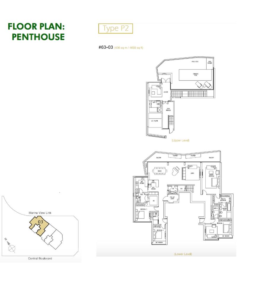 Marina Bay Suites - Floor Plan Type PH2 4693sqft Penthouse 4-Bedroom