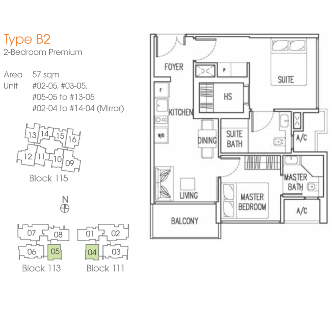 New Launch Condo - Trilive - Floor Plan B2 57sqm 2-Bedroom Premium