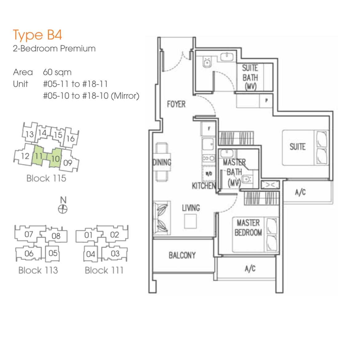 New Launches - Trilive - Floor Plan B4 60sqm 2-Bedroom Premium
