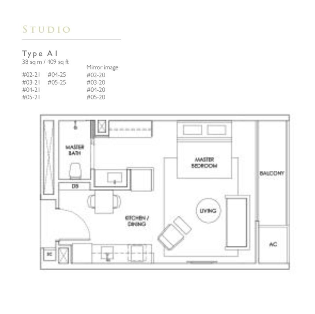 New Condo Launch - Robin Residences - Floor Plan Type A1 409sqft Studio