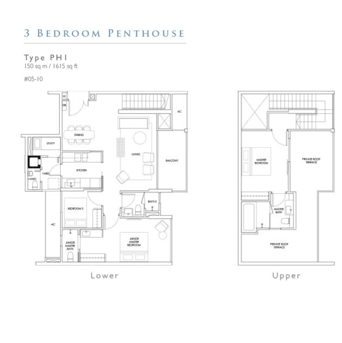 New Launch - Robin Residences - Floor Plan Type PH1 1615sqft Penthouse 3-Bedroom