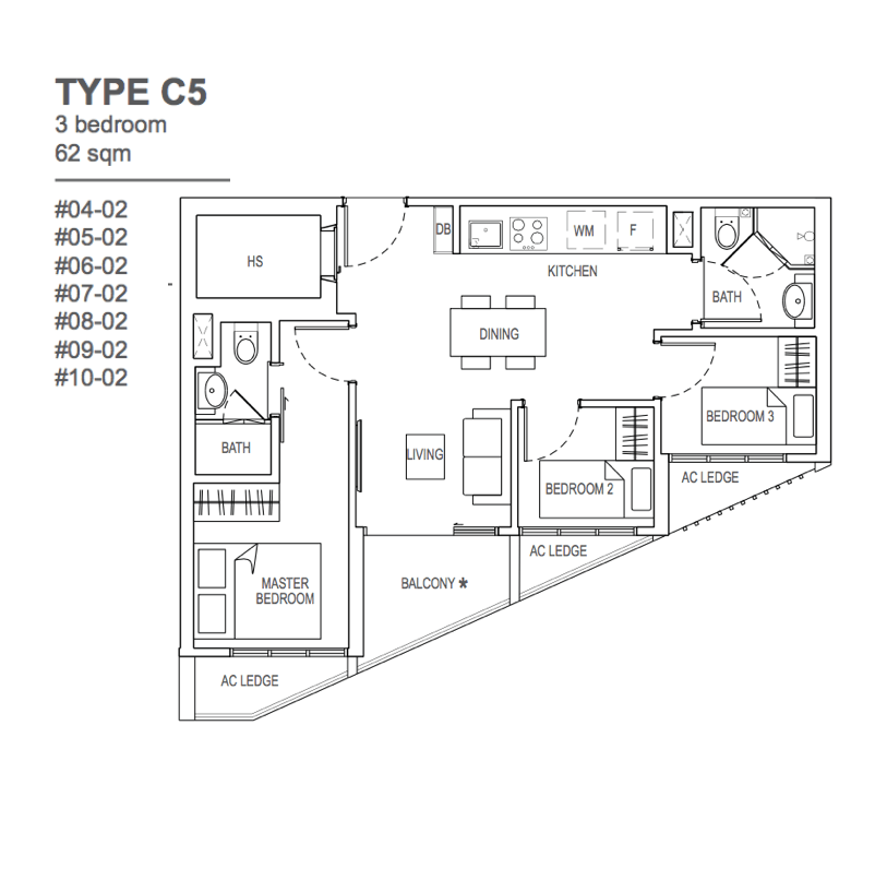 The Rise @ Oxley Residences - Floor Plan Type C5 62sqm 3+Study