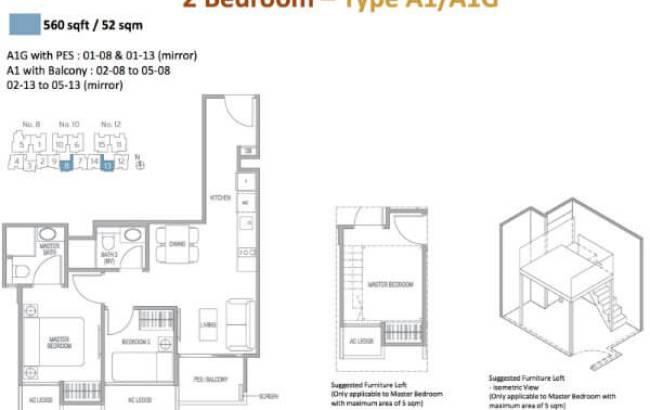 Adana - Floor Plan 2-Bedroom Type A1/A1G 560sqft
