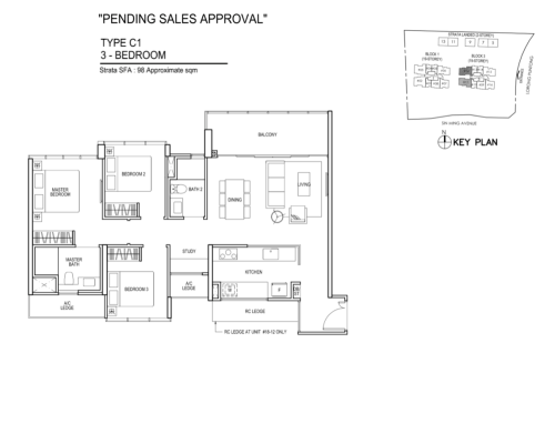Thomson Impressions - Floor Plan C1 3-Bedroom 1055sqft