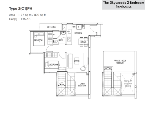 The Skywoods Floor Plan - Type 2C1PH 829sqft Penthouse 2-Bedroom