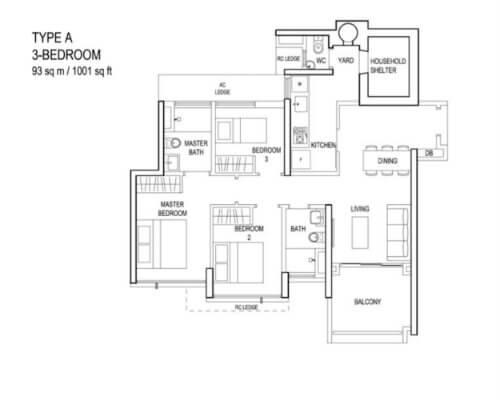 The Terrace - Floor Plan - Type A 3-Bedroom 1001sqft