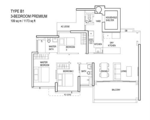 The Terrace - Floor Plan - Type B1 3-Bedroom 1173sqft