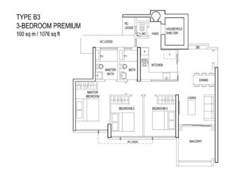 The Terrace - Floor Plan - Type B3 3-Bedroom Premium 1076sqft