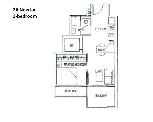 26 Newton - Floor Plan 1-Bedroom