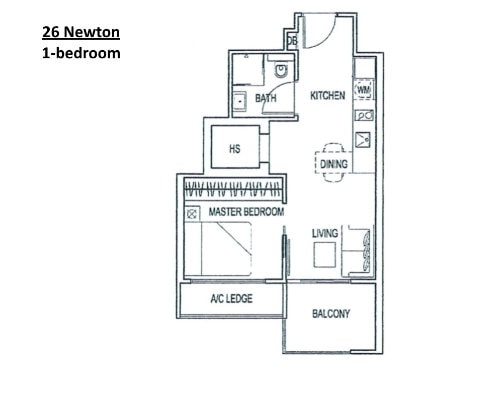 26 Newton - Floor Plan 1-Bedroom