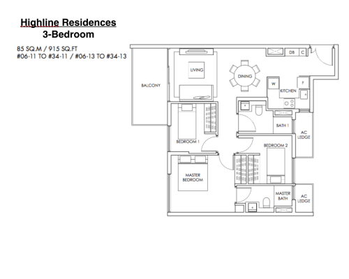 Highline Residences - Floor Plan 3-Bedroom 916sqft