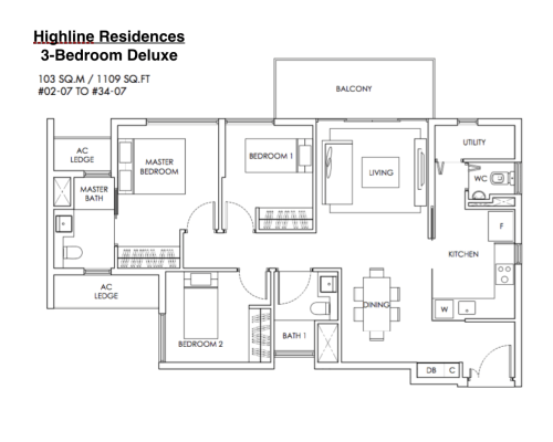 Highline Residences - Floor Plan 3-Bedroom Deluxe 1109sqft