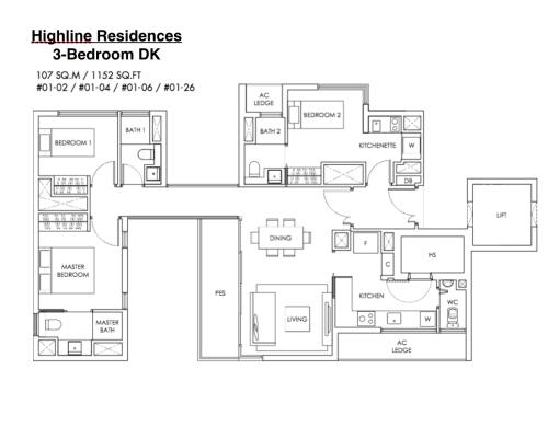 Highline Residences - Floor Plan 3DK 1152sqft
