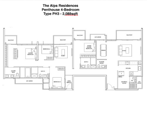 The Alps Residences Penthouse 4br 2088sqft
