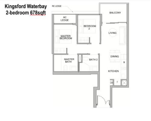 Kingsford Water - Floor Plan 2br 678sf