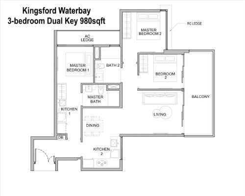 Kingsford Water - Floor Plan 3br Dual Key 980sf
