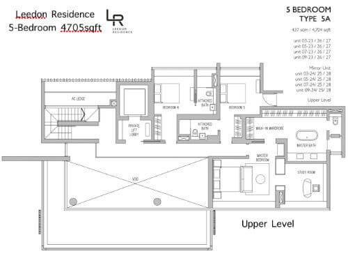 Leedon Residence Floor Plan 5br 4705sqft Upper Level
