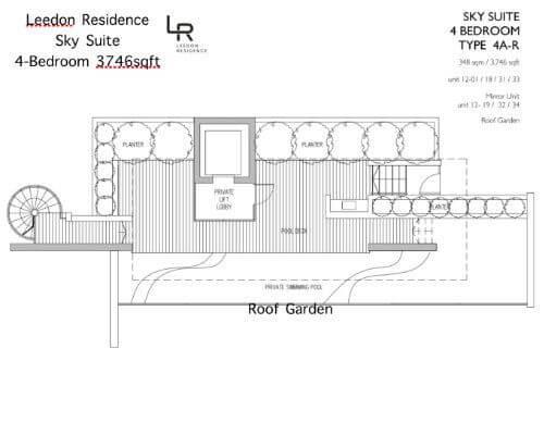 Leedon Residence Floor Plan 4br 3746sqft Roof Garden