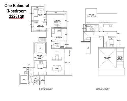 One Balmoral Floor Plan 3-Bedroom 2228sqft