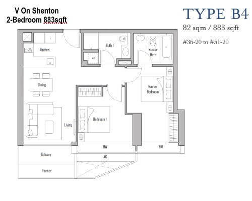 V On Shenton Floor Plan 2br 883sqft