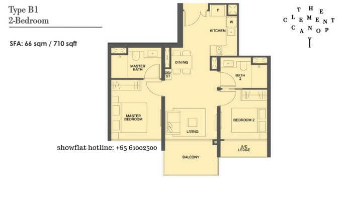 The Clement Canopy 2 bedroom 710sqft