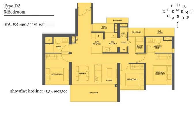 The Clement Canopy 3 bedroom + Guest 1141sqft