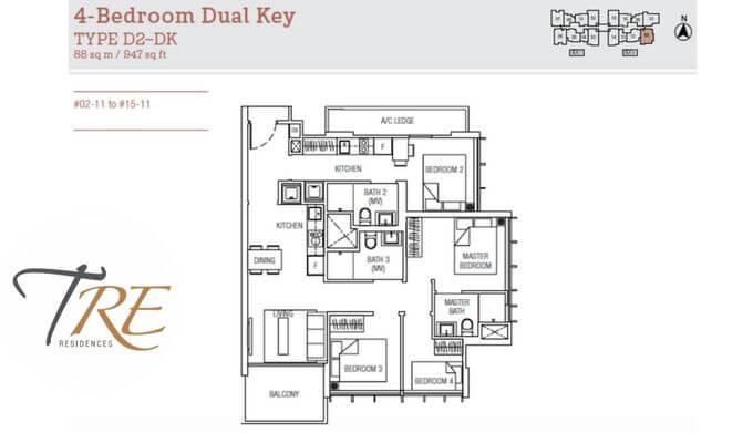 Tre Residences 4 Dual Key 947sqft