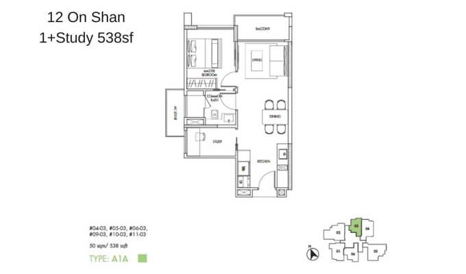 12 On Shan 1+Study 538sf