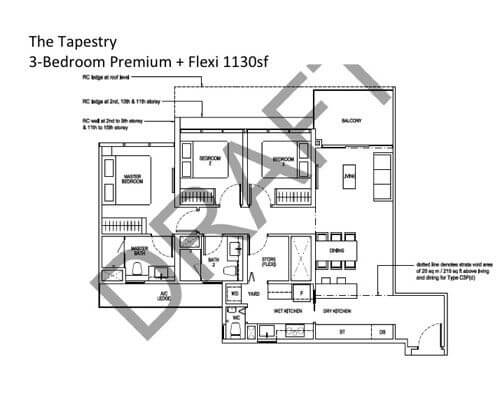 The Tapestry 3-Bedroom Premium Flexi 1130sf