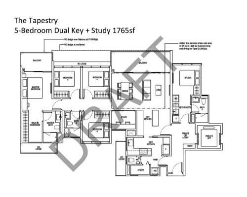 The Tapestry 5-Bedroom Dual Key + Study 1765sf