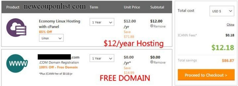 $12/year Economy Web Hosting With 1 Free Domain