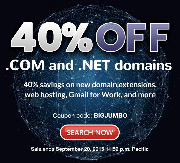 40% off .COM domains - 3 days only