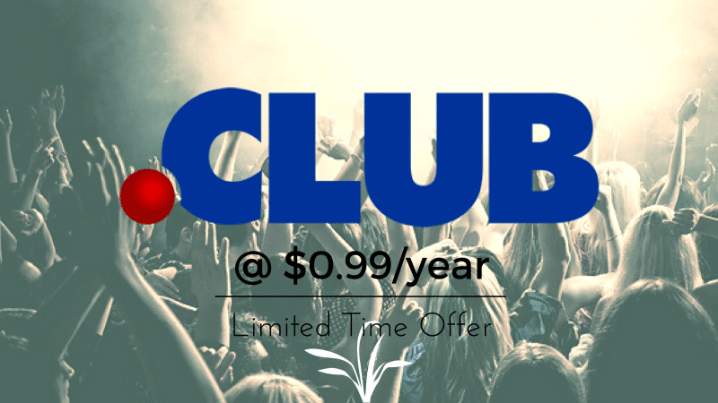 Start Your .CLUB Domain Just $0.99 at GoDaddy