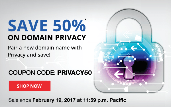 save 50% on domain privacy