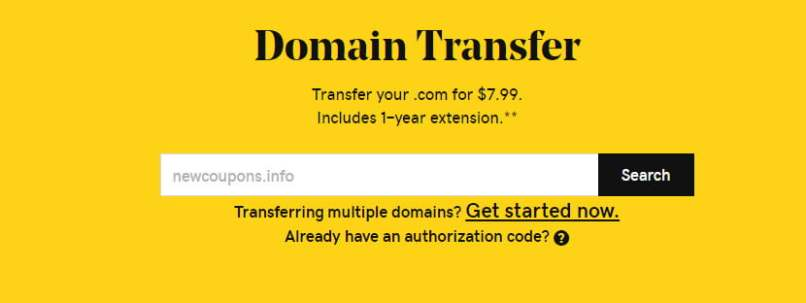 $0.99 GoDaddy Domain Transfer Coupon October 2019 - Free 1-Year Extension